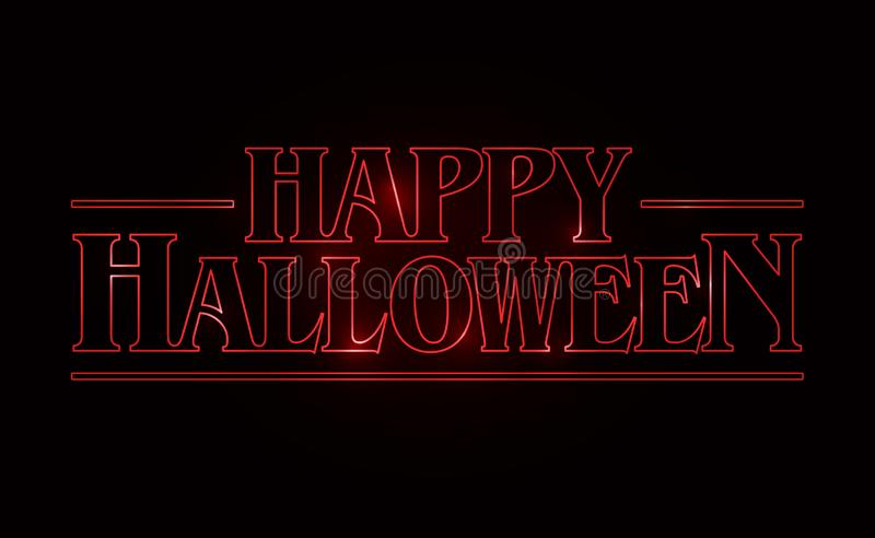 Happy Halloween text design, Happy Halloween word with Red glow text on black background. 80`s style, eighties design. Vector illustration royalty free illustration