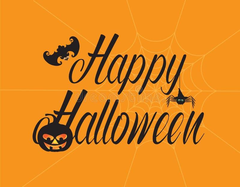Happy Halloween Text with Spider Pumpkin Bat Illustration vector illustration