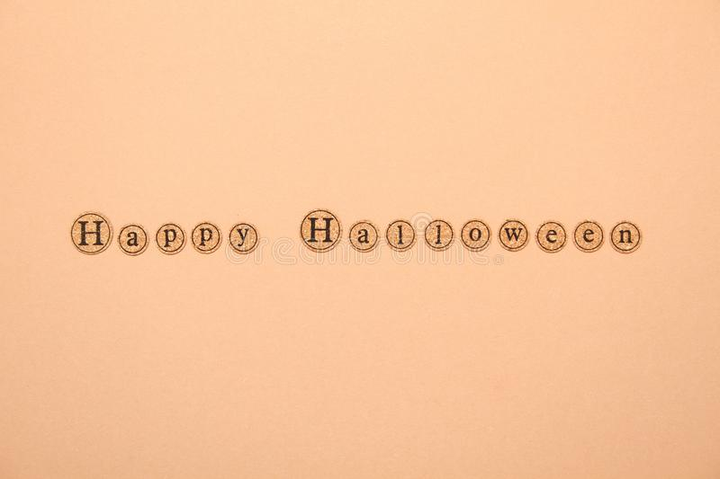 Happy halloween text. Letters written the text of a happy Halloween. Holiday Wallpapers royalty free stock images