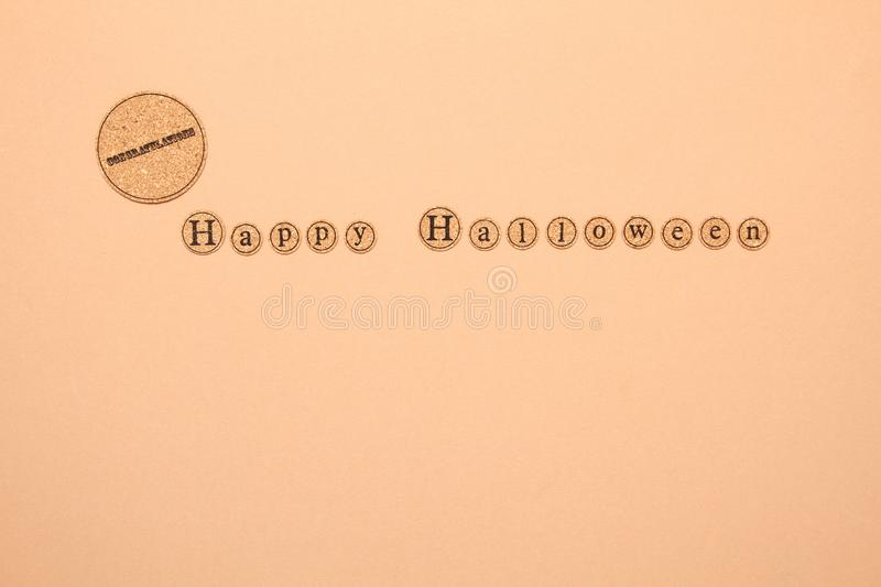 Happy halloween text. Letters written the text of a happy Halloween. Holiday Wallpapers stock image