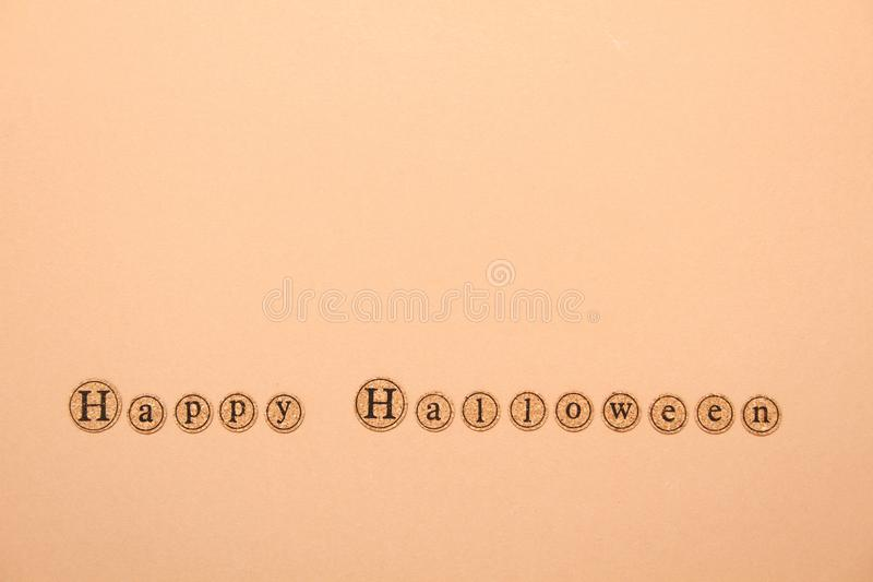Happy halloween text. Letters written the text of a happy Halloween. Holiday Wallpapers stock photo