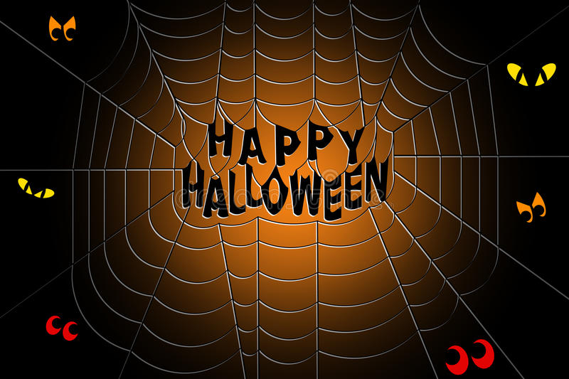 Happy Halloween text in the middle of a spooky spider web. With scary eyes gleaming in the darkness stock illustration