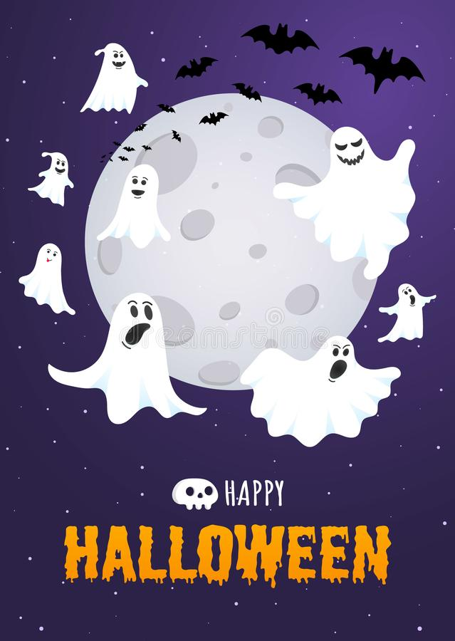Happy Halloween text postcard banner with ghosts scary face, night sky. Moon, flying bats and text happy halloween isolated on dark background flat style royalty free illustration