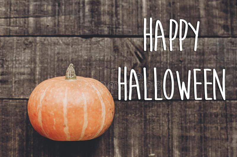 Happy halloween text sign, greeting card. simple fall image flat stock images