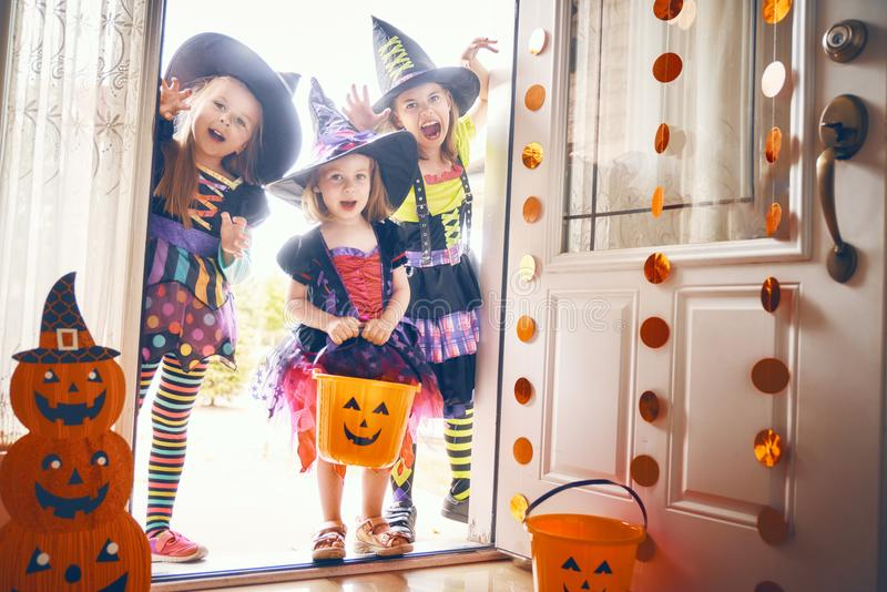 Children on Halloween stock photography