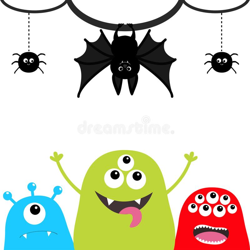 Happy Halloween. Three monster silhouette set. Head face. Hanging bat, spider insect on dash line web. Cute cartoon scary characte royalty free illustration