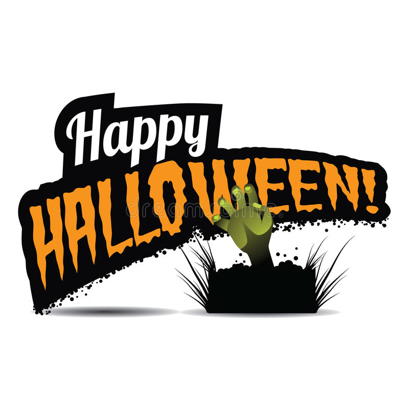 Happy Halloween title with zombie hand stock illustration