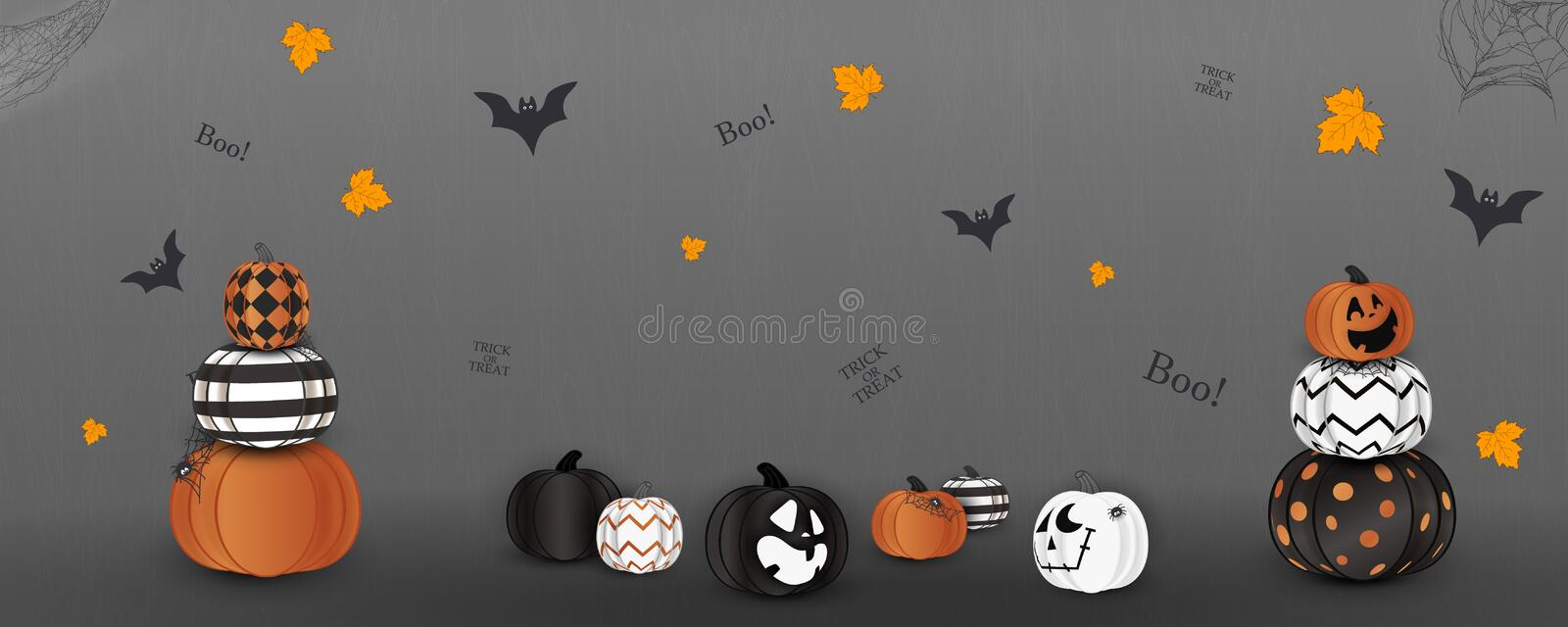 Happy Halloween. Trick or treat. Boo. Holiday concept with ghost orange, white, black halloween pumpkins funny faces stock illustration