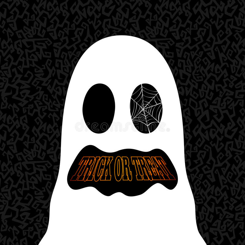 Happy Halloween trick or treat ghost drawing EPS10 file. stock images