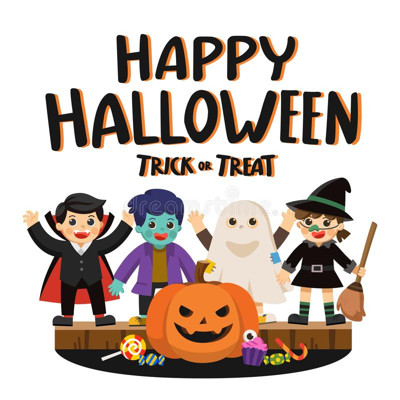 Happy Halloween and Trick or Treat Party. stock illustration