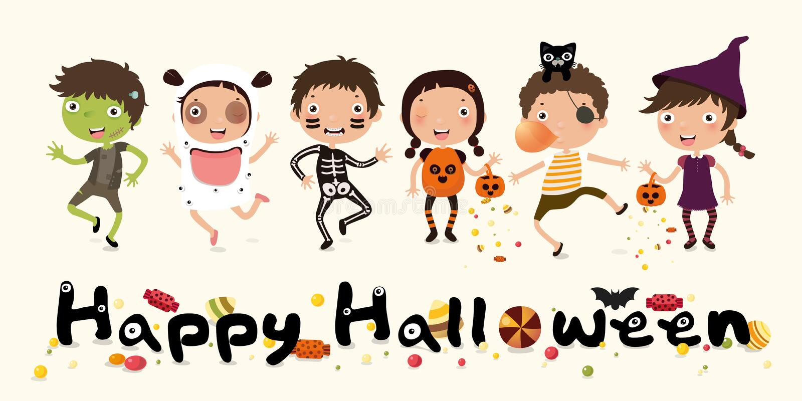 Happy Halloween, truck or treat,  Set of cute cartoon children in colorful Halloween costumes: Ghost, pumpkin, pirate, devil, witc vector illustration