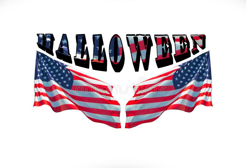 Happy halloween with two usa flags,. For halloween concept stock image