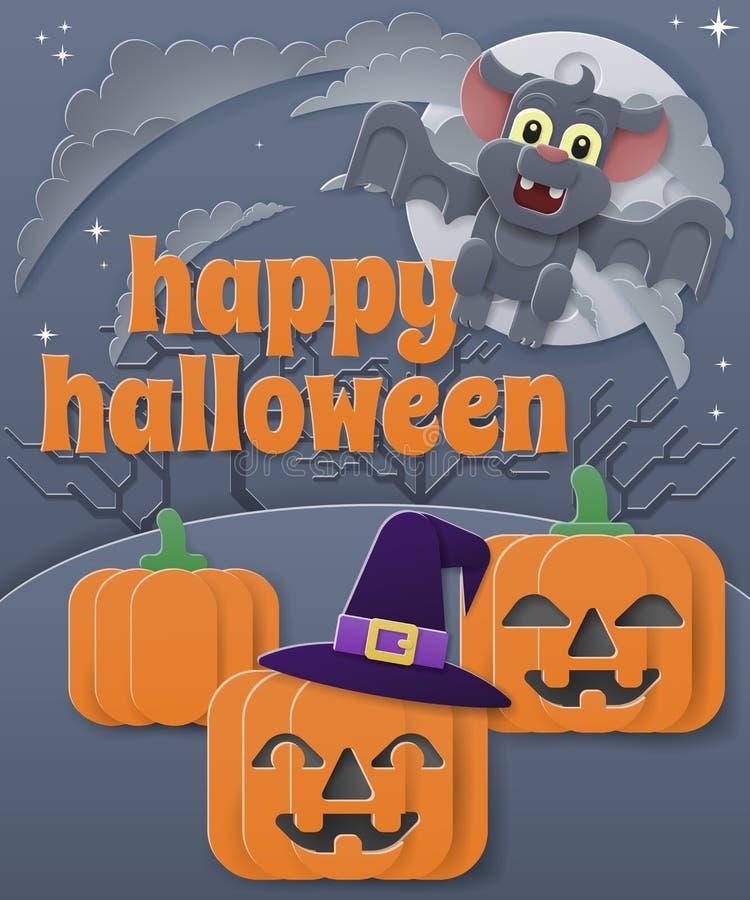 Happy Halloween Vampire Bat Pumpkin Background vector illustration