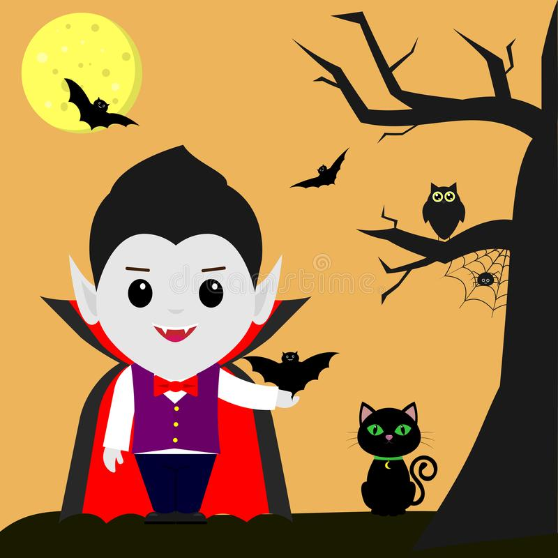 Happy Halloween. Vampire Dracula cartoon holds a bat in his hand. Black cat, owl, tree, spider, full moon at night royalty free illustration