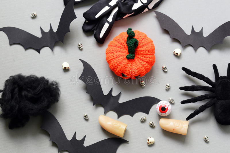 Happy Halloween - variety of things for decorations stock image