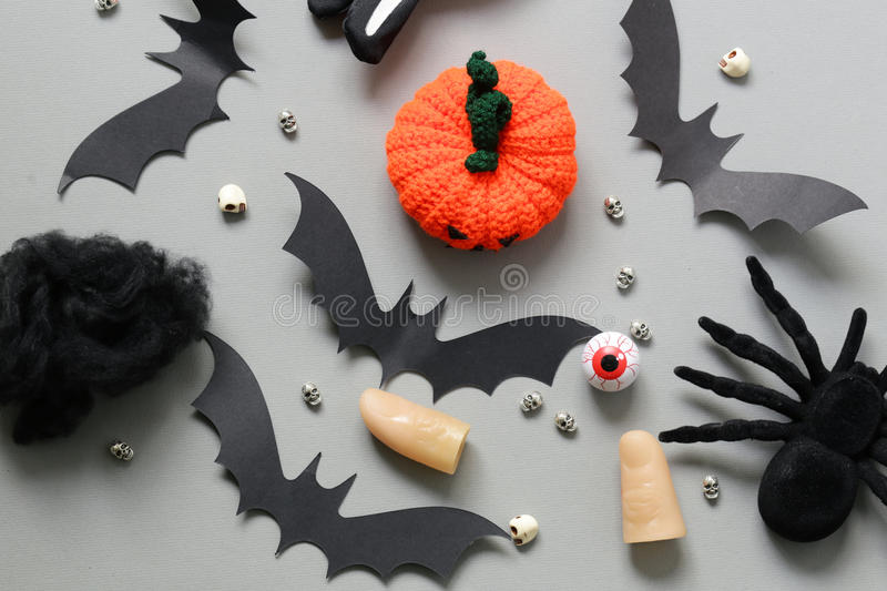 Happy Halloween - variety of things for decorations stock photography