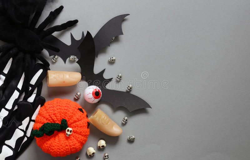 Happy Halloween - variety of things for decorations royalty free stock photography