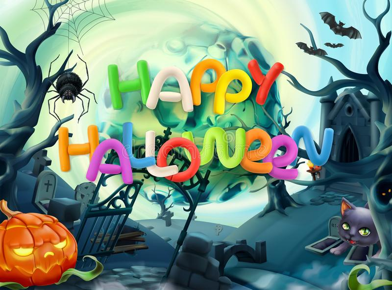 Happy Halloween. Vector background. Happy Halloween. 3d vector background stock illustration