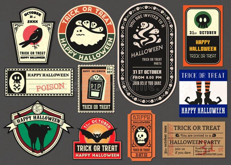 Happy halloween vector Badge retro style collection royalty free stock photo