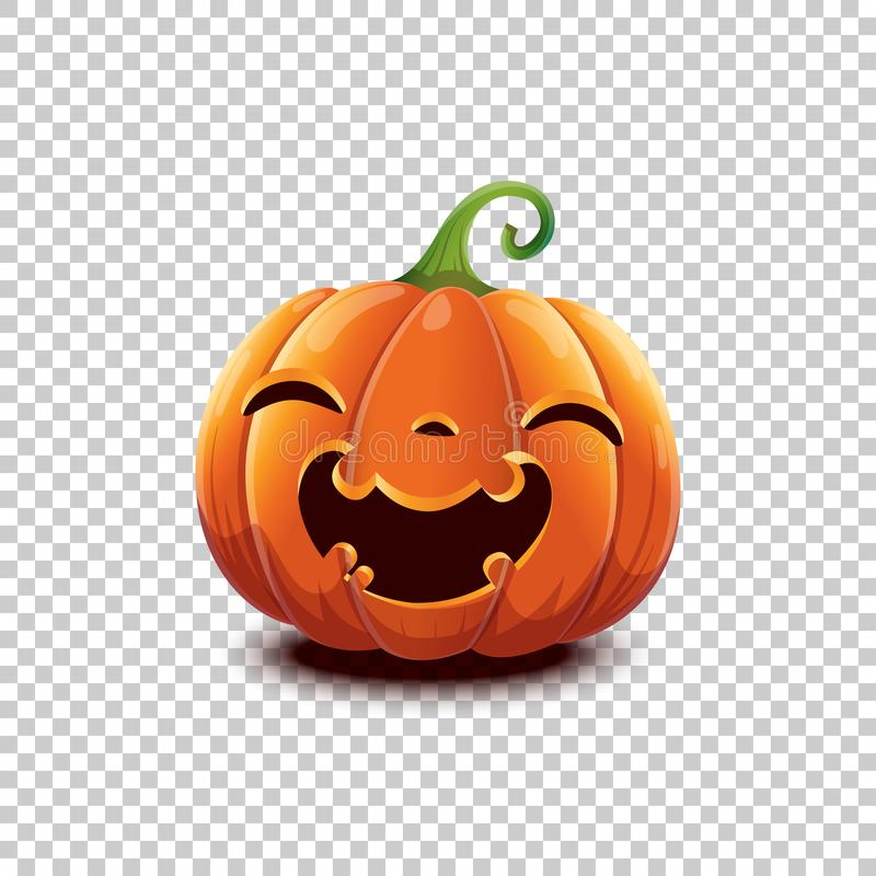 Vector Halloween pumpkin in cartoon style. Smiling happy face Halloween pumpkin isolated on transparent background. Jack royalty free illustration