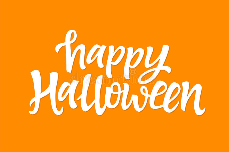 Happy Halloween - vector hand drawn brush pen lettering stock illustration