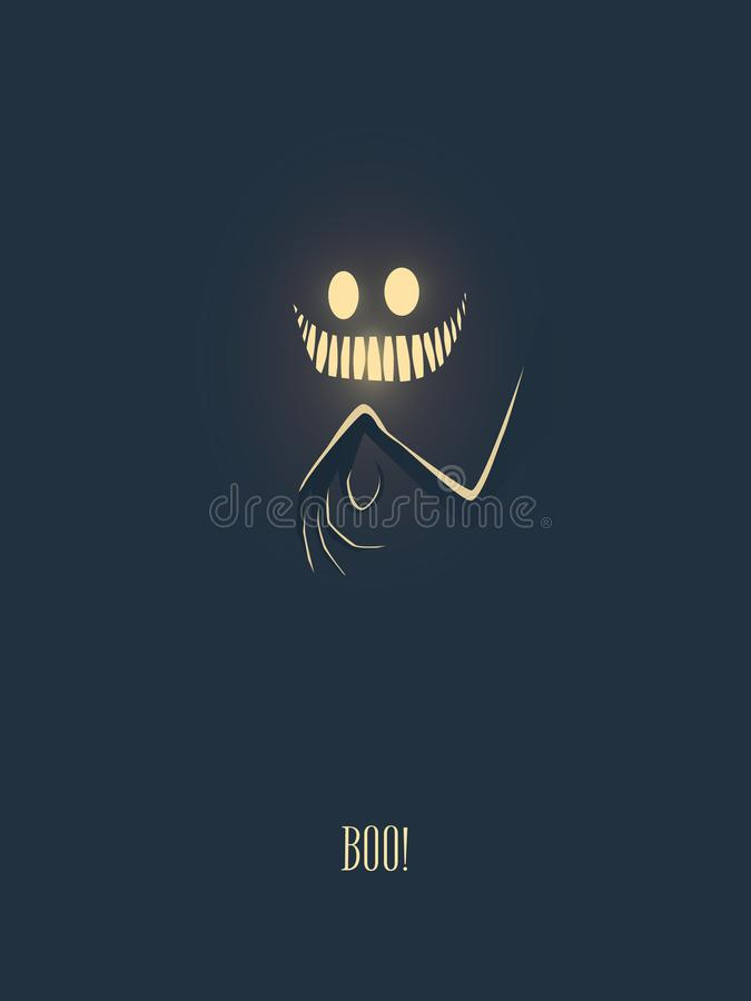 Happy halloween vector illustration card with monster glowing in the dark night, his hand with creepy fingers and mouth vector illustration
