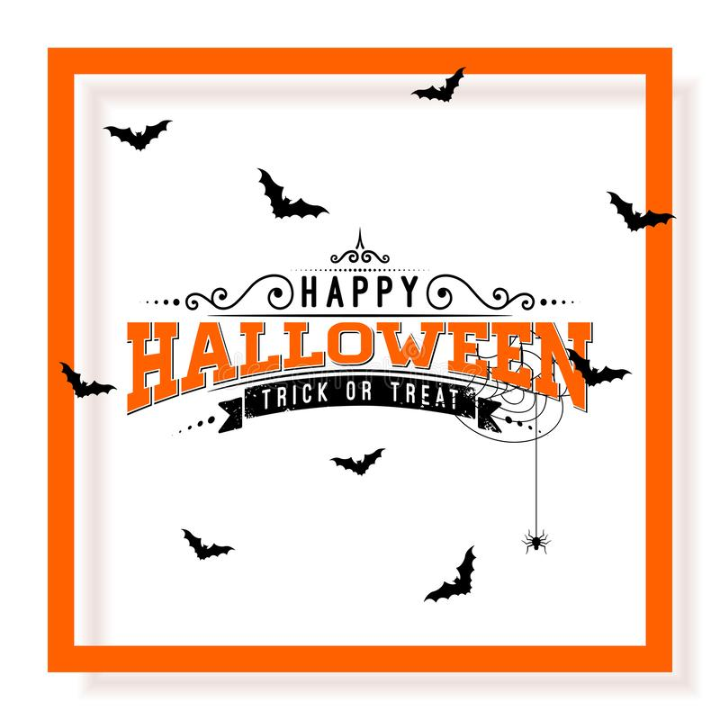 Happy Halloween vector illustration with typography lettering, flying bats and spider on white background. Holiday royalty free illustration