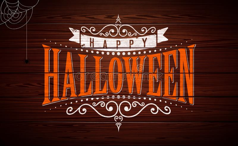 Happy Halloween vector illustration with typography lettering on vintage wood background. Holiday design for greeting stock illustration