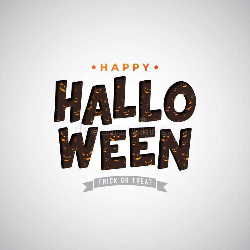 Happy Halloween vector illustration with typography lettering on white background. Holiday design for greeting card royalty free illustration