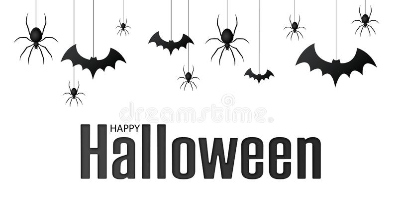 Happy halloween. Vector isolated pattern with hanging spiders and bats spider for banner, poster, greeting card. Vector stock illustration