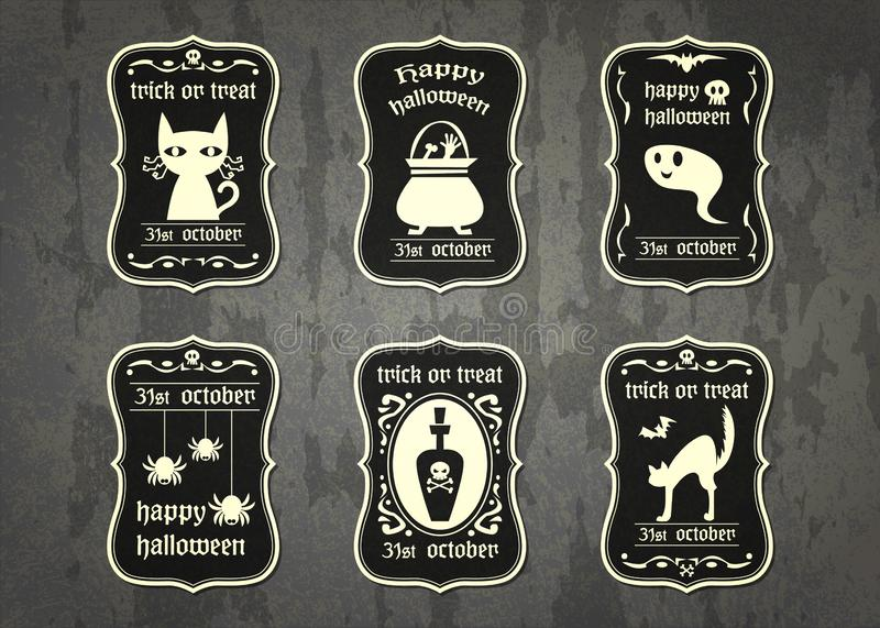 Happy Halloween vector tag with cute cartoon in vintage style stock photos