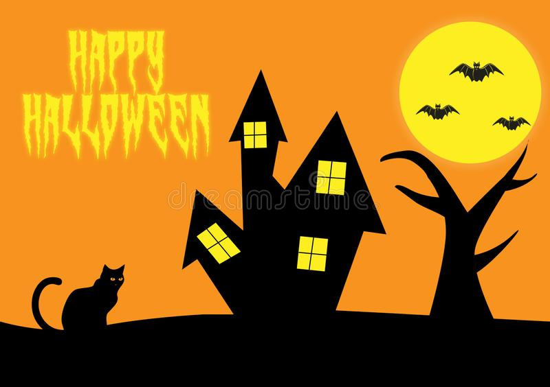 Happy Halloween wishes as a digital card design royalty free illustration