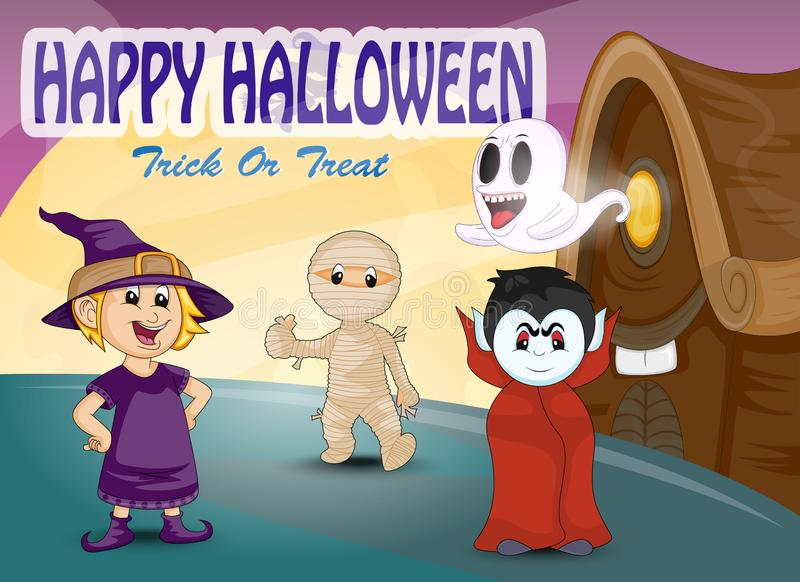 Happy halloween - witch, mummy, dracula, ghost in front of spooky house cartoon vector illustration royalty free illustration