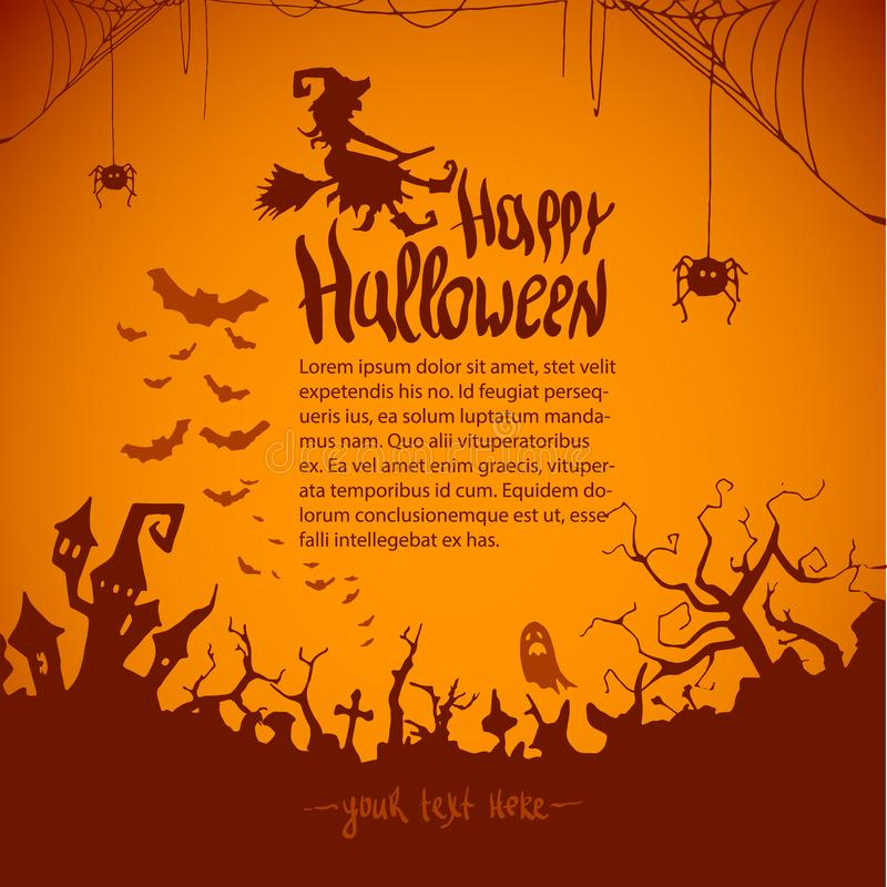 Happy Halloween witch Pumpkin Background Vector Illustration. Halloween Flat Design. royalty free illustration