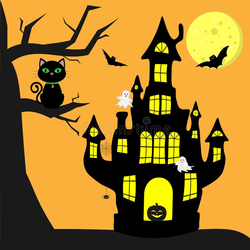 Happy Halloween. A witch s castle with a pumpkin, a black cat sitting on a tree, bats, cobwebs and spiders, a full moon stock illustration
