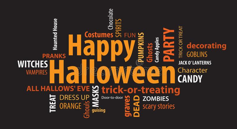 Happy Halloween Word Cloud. On a Black Background royalty free illustration