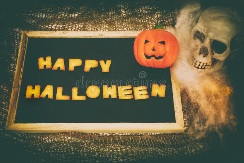 Happy Halloween words retro style decoration background royalty free stock photography