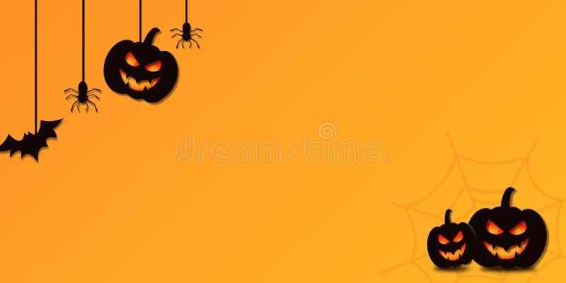 Happy Halloween Zeichen- und Thema-Illustration Hintergrund mit Kürbis stockbild