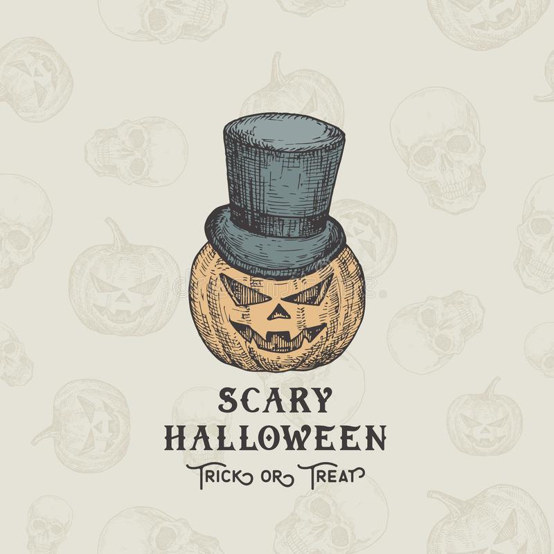 Happy HalloweenTrick or Treat Vector Background or Card Template. Hand Drawn Pumpkin Head in a Cylinder Hat Sketch stock photos