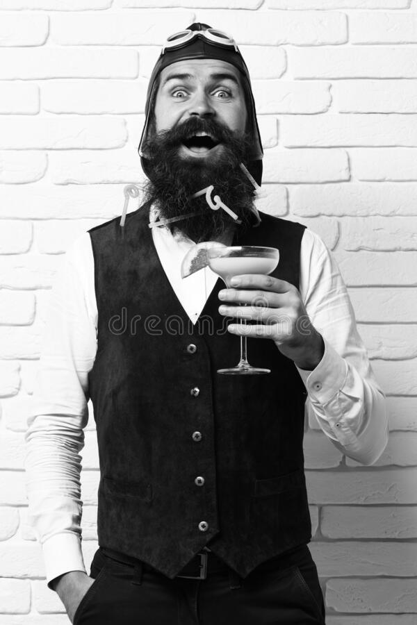Happy handsome bearded pilot with long beard stock image