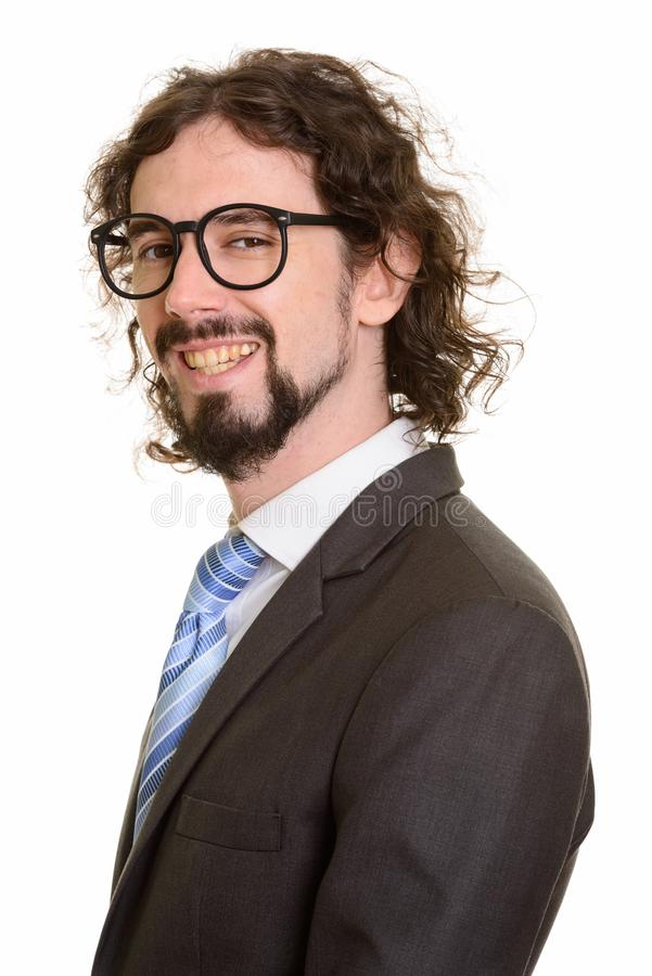 Happy handsome Caucasian businessman smiling and wearing eyeglasses royalty free stock photo