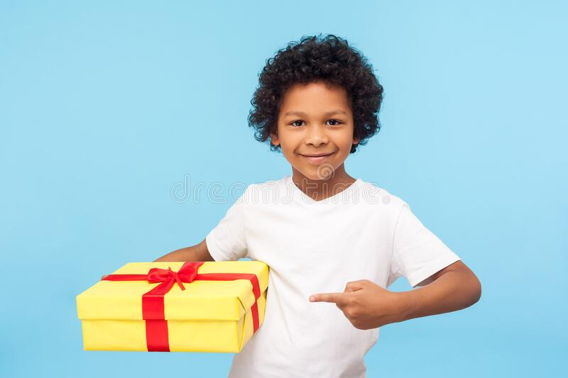 Happy handsome cute little boy pointing to gift box and smiling at camera, preschool child showing present stock image