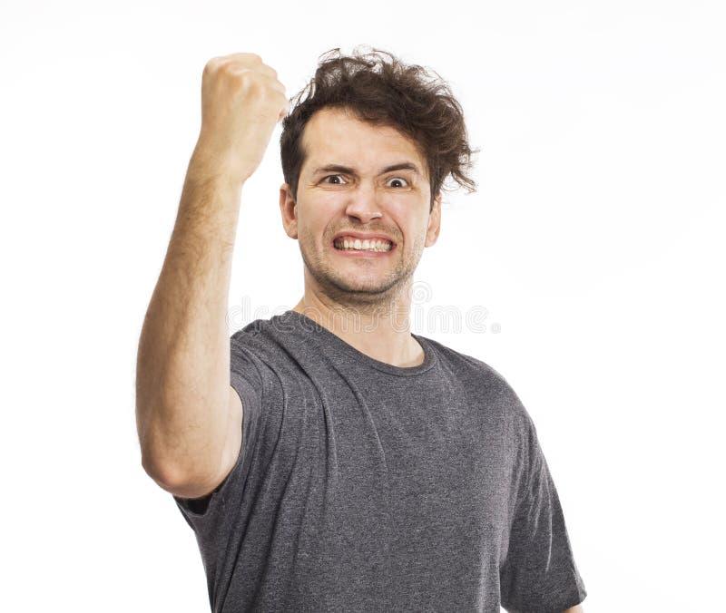Happy handsome man looking in excitement stock image