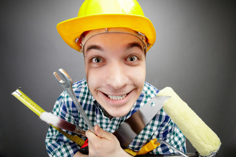 Download Happy handyman stock image. Image of measuring, male - 20095759