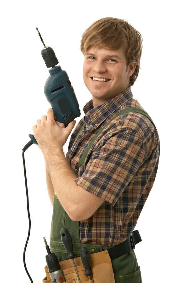 Free Happy Handyman Posing With Power Drill Stock Photo - 17627800