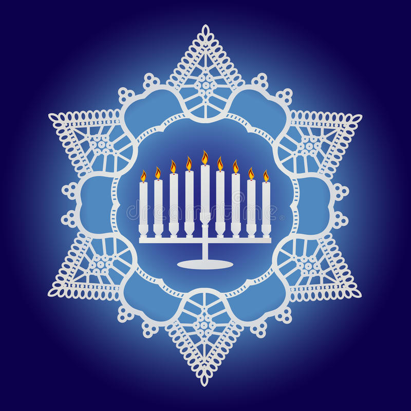 Happy Hannukah. Hannukah candles with unique star surrounding royalty free illustration