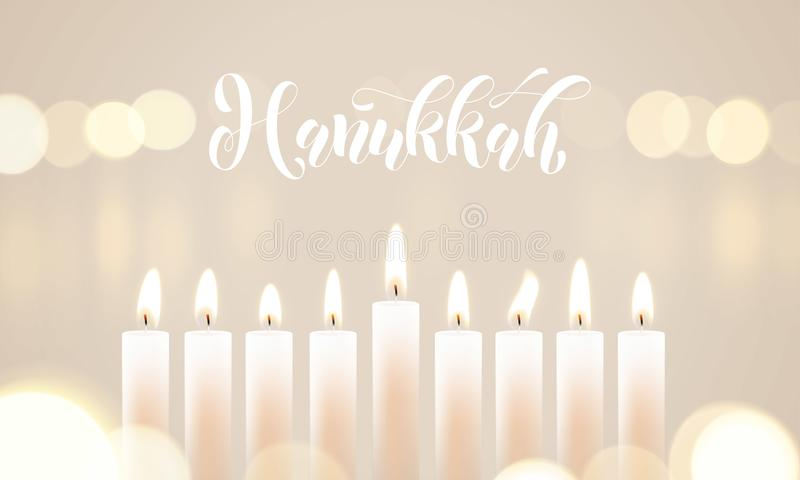 Happy Hanukkah candle lights bokeh and white calligraphy text for Jewish holiday greeting card design. Vector Chanukah or Hanukah vector illustration