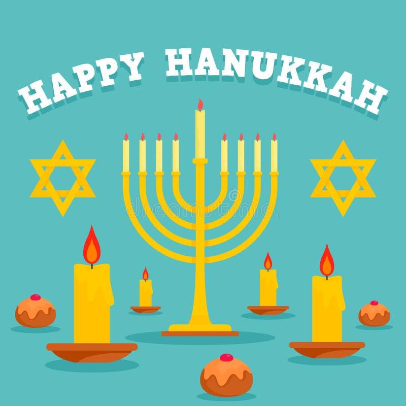 Happy hanukkah candles concept background, flat style royalty free illustration