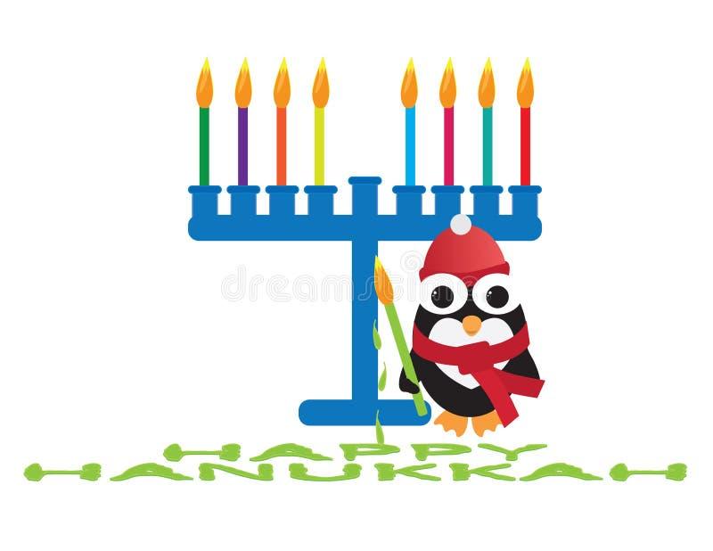 Happy Hanukkah card. Cute penguin standing near a blue menora holding green candle stock illustration