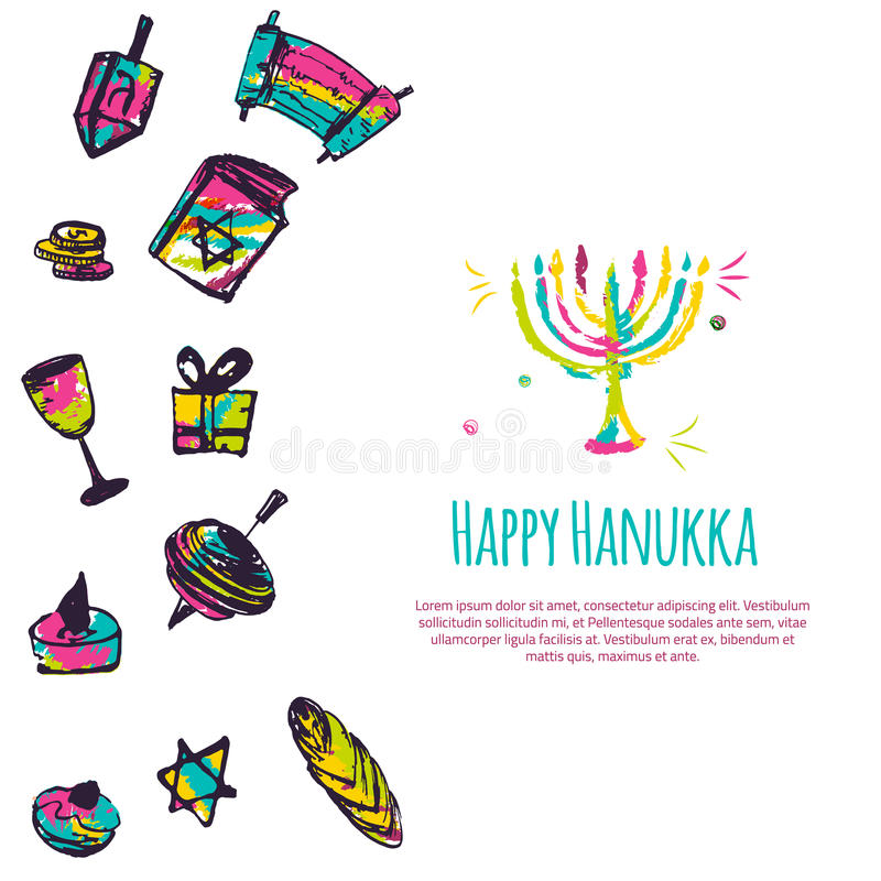 Happy Hanukkah colorful greeting card with hand drawn elements on white background. Menorah, Dreidel, candle, hebrew. Star for your design vector illustration